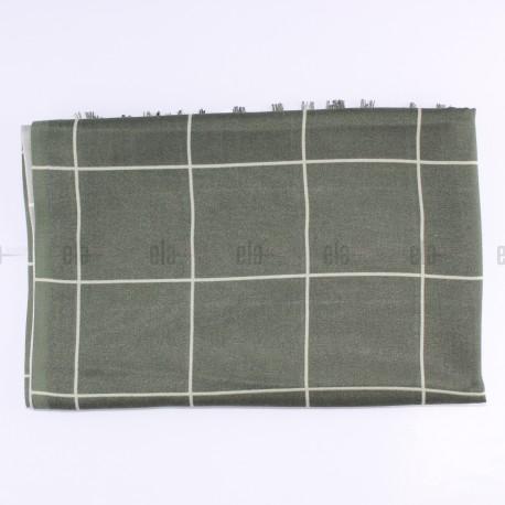 Châle Carreaux Vert Kaki